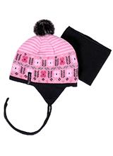 шапка c манишкой Peluche & Tartine F18 ACC 10 BF Vinage Pink