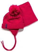 шапка+манишка PELUCHE & TARTINE F17 ACC 72 EF Raspberry